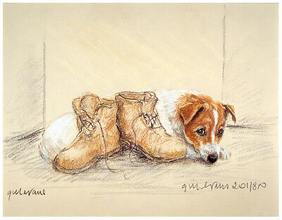 JACK RUSSELL TERRIER DOG ART LIMITED EDITION PRINT - With Walking Boots