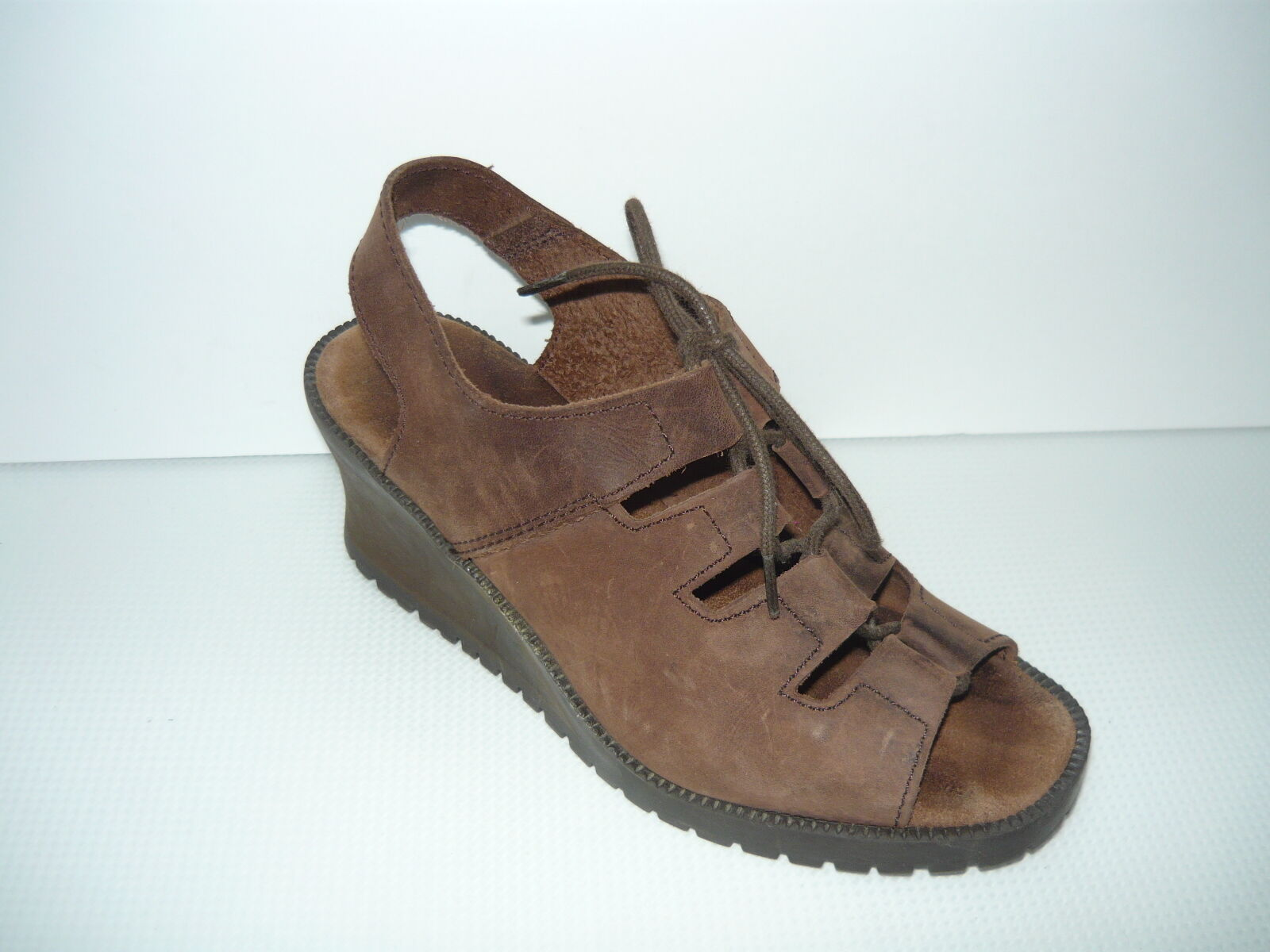 APOSTROPHE Brown Brown APOSTROPHE Leather Sandals Wedge Heel Womens Size 6.5 a87b12