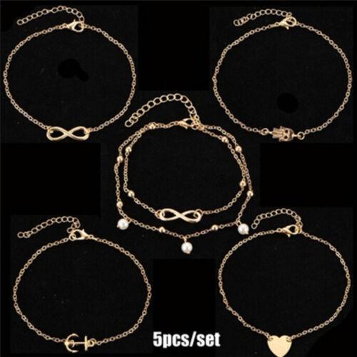5Pcs//Set Fashion Beach Alloy Foot Chain Women Anklet Bracelet Jewelry Set Gift