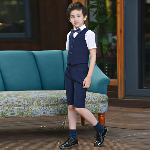 4PCs Formal Christening Kids Toddler Boys Suits Set with Vest and Tie Size 2-15T