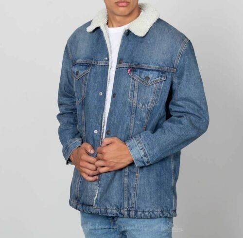 Relaxed Big Denim Fit Trucker Red Jacket Long S E Vintage Nwt Mens Sherpa Levis 7t0YPFqwF