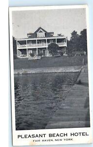 Pleasant-Beach-Hotel-Dock-Pier-Fair-Haven-New-York-NY-Vintage-Postcard-D02