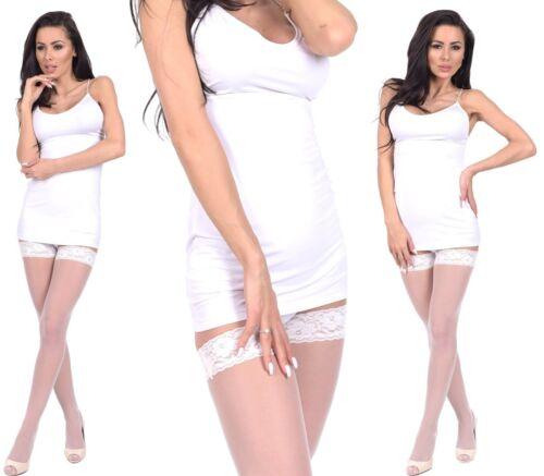 Sposa nylon supporto senza calze 15 ai bianchi splendenti discreta punta S-l UE