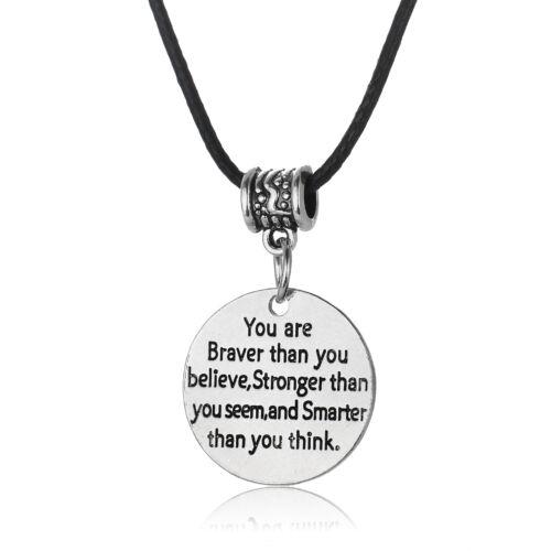 Encourage Bracelet Bangle Keyring Pendant You Are Brave Strong Smart Necklace