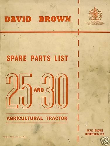 David Brown Tractor 25 Centavos 30c 25d 30d Manual De Piezas 25 30