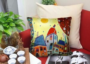 Sunny Landscape VELVET PILLOW COVER FOLK ART Prim Various Sizes Karla Gerard
