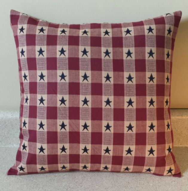 40 Americana Star Primitive Pillow Covers Shams Burgundy Blue Cool Primitive Pillow Covers