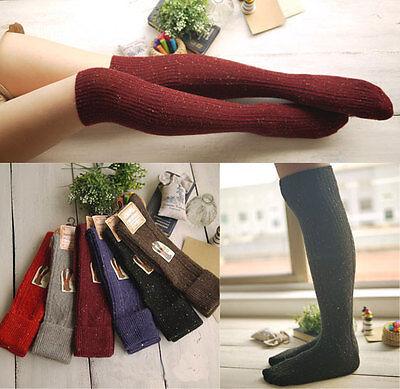 Hot 6 Pairs Lot Women Turn Up Rib Colorful Dot Wool Knee High Winter Boot Socks