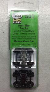 "KADEE 501 Pair Arch Bar Metal Sprung Trucks 33"" Code 110 Ribbed MODELRRSUPPLY-co"