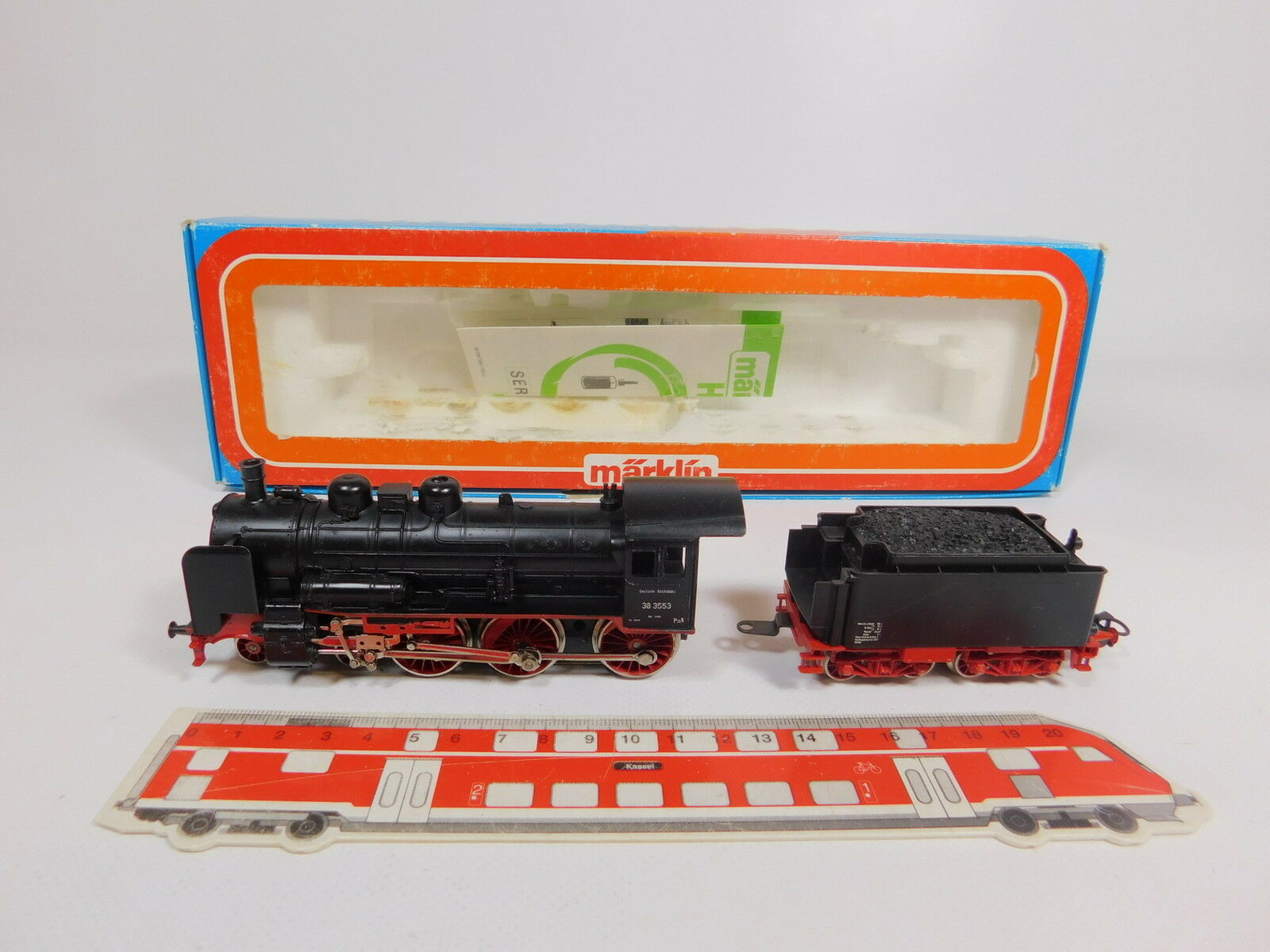 Aq609-2Märklin H0 AC 3099 Locomotive with Tender   Steam 38 3553 Dr, Very Good