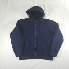 Polo Ralph Lauren Navy Full Zip Hoodie Sweatshirt LARGE Waffle Knit Hood VTG 90s