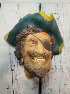 "VTG. CAPTAIN SIR HENRY MORGAN BOSSONS Chalkware Head-England-MAN CAVE-8"" x 7"""