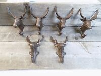 6 Rustic Elk Deer Moose Head Hooks Cast Iron Coat Hook Rack Restoration Hat
