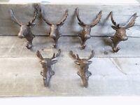6 Rustic Elk Deer Moose Head Hooks Cast Iron Coat Hook Rack Restoration Hat