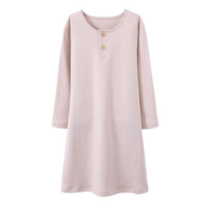 Image is loading Girls-Kids-Organic-Cotton-Nightgown-Sleepwear-Dress-Long- b14d5e781