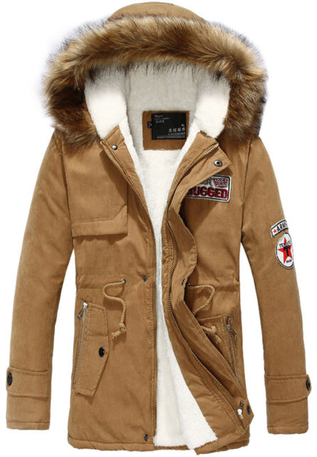 Men's long hooded cotton trench coat fur Winter outwear jackets padded jacket
