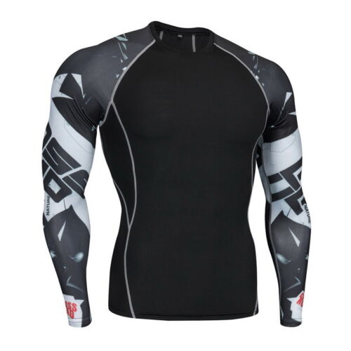 Mens Pro Compression Long Sleeve Shirts Breathable Fast Dry Bodybuilding Tops