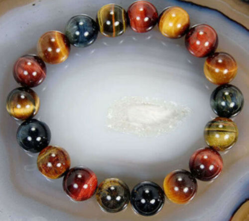 10mm Natural Colorful Tiger/'s Eye Stone Round Beads Stretchy Bracelet Bangle