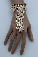New Women Gold Metal Wrist Bracelet Butterfly Hand Chains Slave Ring Long Finger