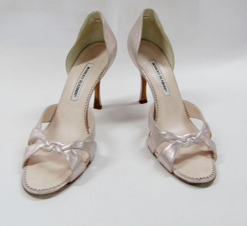 Manolo Blahnik 40 10 metallic leather d'Orsay sandal pumps champagne open toe