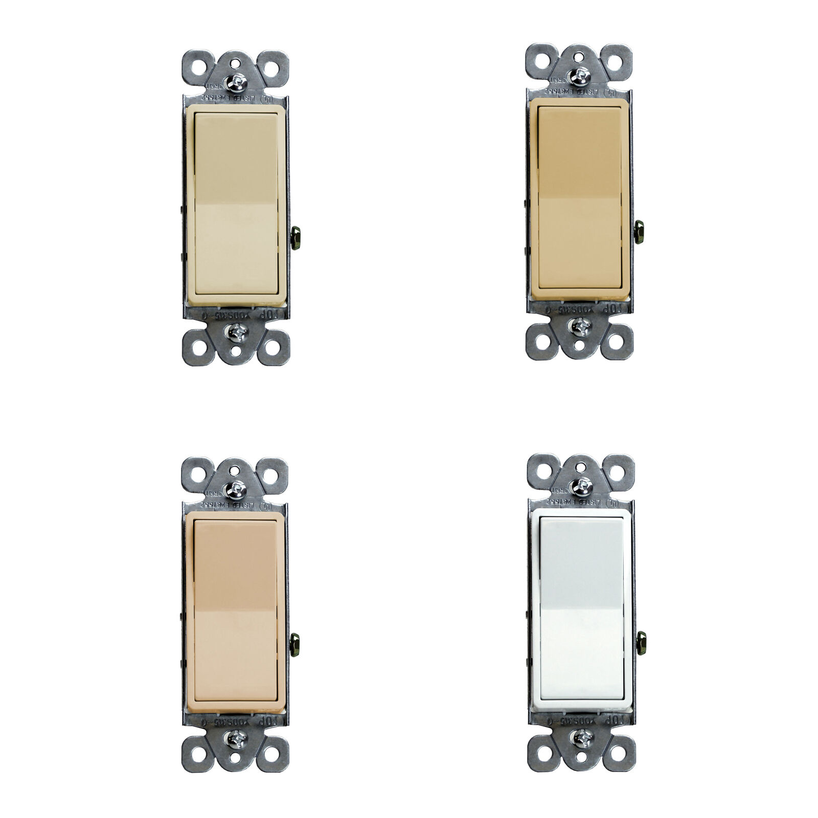 10PK Decorator 15A Switch 3 Way /SPST Lighted Illuminated Rocker ...