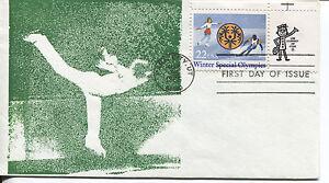 1985 Spécial Olympiques Fait Main Soie Écran Cachet Unaddressed Fdc Sans Retour