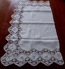 """Antique Lace Handmade Hemstitched Scalloped Runner/Vict Pillow Cvr. Ecru.35 x20"""""""