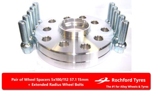 5x112 57.1 2 Los Pernos OE para SEAT LEON 05-11 Separadores de Rueda 15 mm Mk2