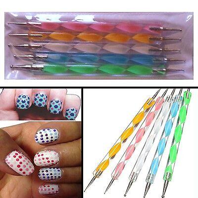 5 X Nail Art Dotting Pen Marbleizing Tools Set Manicure Painting Kit  2-Way - UK