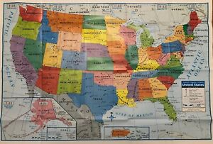 """Details about United States Wall Map 40""""x28"""" USA Political Map Large with  Time Zones"""