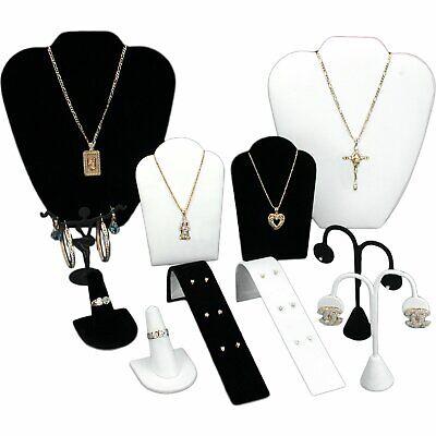 Black /& White Velvet Necklace Chain Jewelry Display Easel Bust Kit 2 Pcs