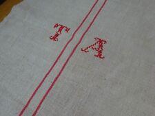 Antique European Feed Sack GRAIN SACK TA Monogram # 9182