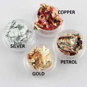Nail-Art-metal-foil-leaf-flakes-wraps-gold-silver-copper-oil-UK-SELLER