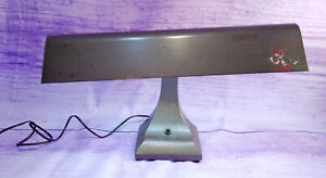 Industrial-Fluorescent-Desk-Lamp-Gray-Metal-Mid-Century-Art-Deco-Steampunk-Vtg