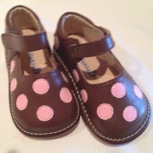 Girls Brown-Pk Polka Dot SQUEAKY SHOES toddler size 5 6 7 ...