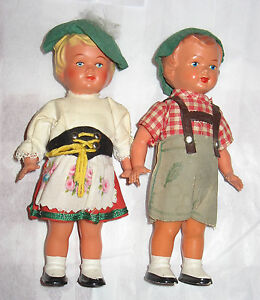 Pair-of-2-Vintage-West-Germany-Sweetheart-Dancing-Dolls-Tanzpuppe-1950s