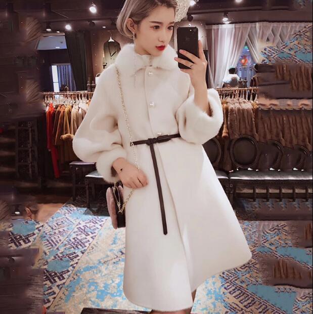 Womens Trendy Vintage Fur Collar Long Sleeve Wool Coat Winter Slim Overcoat @BT0