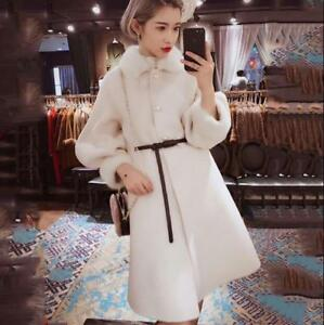 Langærmet Winter bt0 Kvinders Trendy Fur Overcoat Collar Slim uld Coat Vintage 4nCxwIPaqT