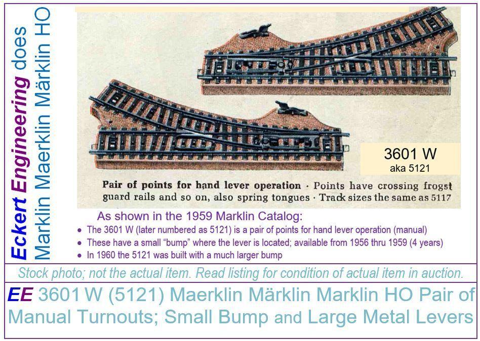 EE 3601W LN Maerklin Märklin Marklin HO Pair of Turnouts aka 5121 small bump NBX