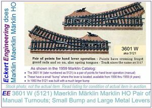 EE-3601W-LN-Maerklin-Marklin-Marklin-HO-Pair-of-Turnouts-aka-5121-small-bump-NBX