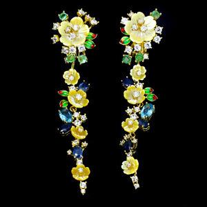 925-Sterling-Silber-Ohrringe-73-x17mm-Perlmuttblumen-Topas-Smaragd-Saphir