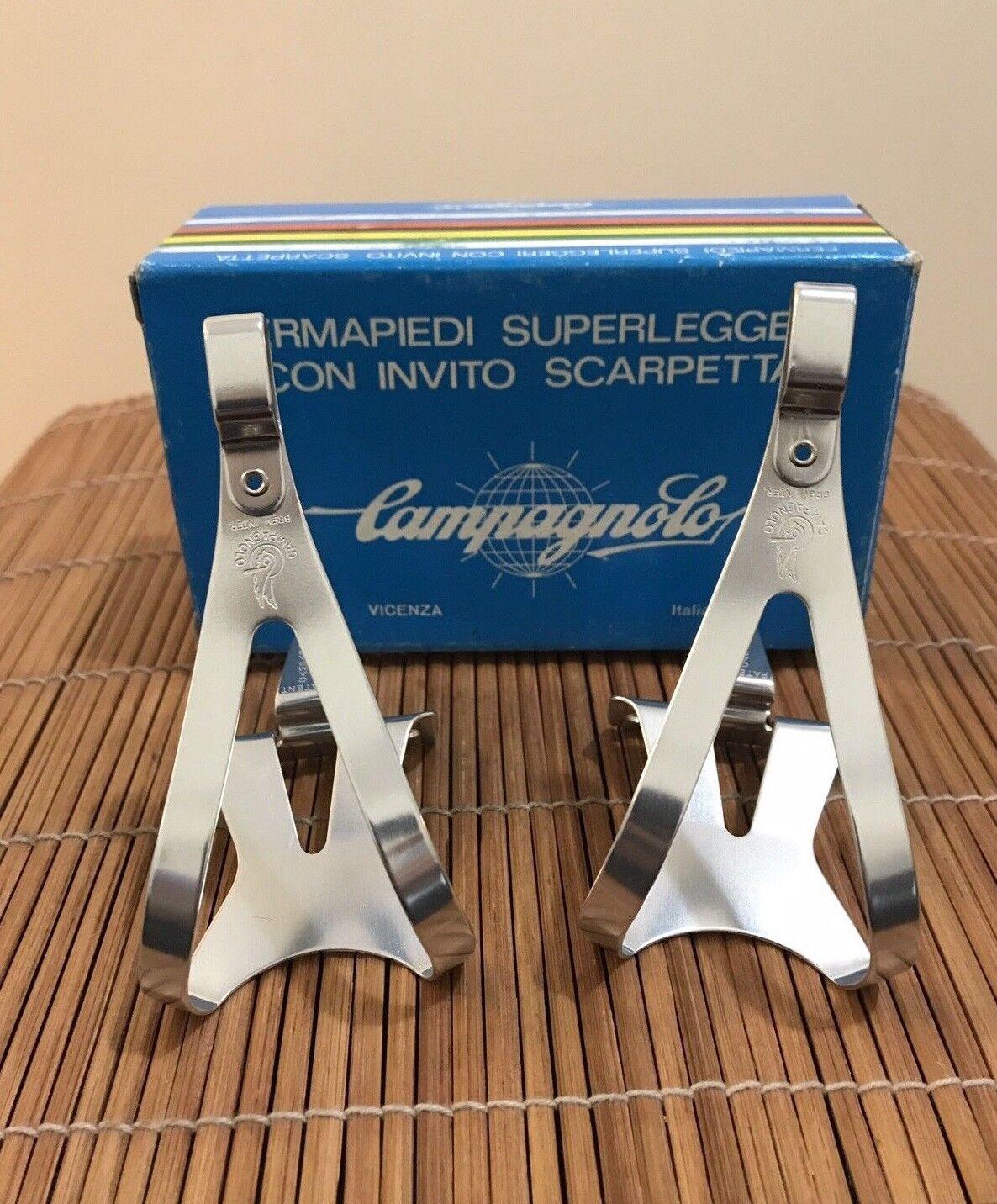 Beautiful NOS NIB Vintage Campagnolo Super Record Pedal Alloy Toe-Clips - Small