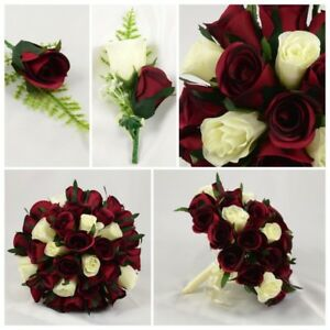 Details About Silk Artificial Wedding Flowers Burgundy Ivory Bouquet Posy Table Decoration