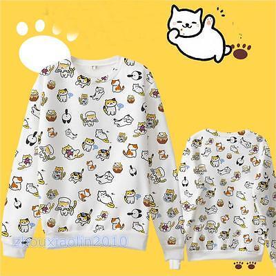 Game Neko Atsume ねこあつめ Cute Cat Sweater Cotton Fleece Hoodies Sweatshirt S~XXXL