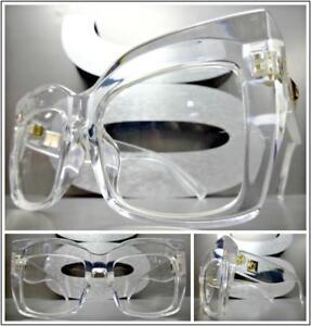 OVERSIZED RETRO Style Clear Lens EYE GLASSES Black Silver Pearl Frame HANDMADE!