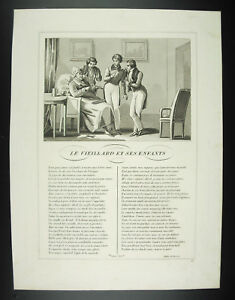 The-old-man-and-his-enfants-Fables-Jean-from-La-Fontaine-1834-engraving-print