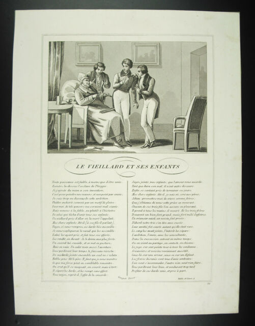 The Vieillard And Ses Enfants Fables Jean From La Fontaine 1834 Engraving Print