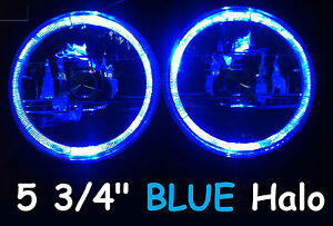 "1pr 5 3/4"" Semi Sealed Headlights Blue Halo Ford Fairmont Escort Mustang Mach 1"