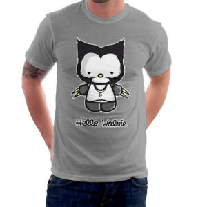 Hello-Wolverine-Kitty-X-Men-Men-039-s-T-Shirt