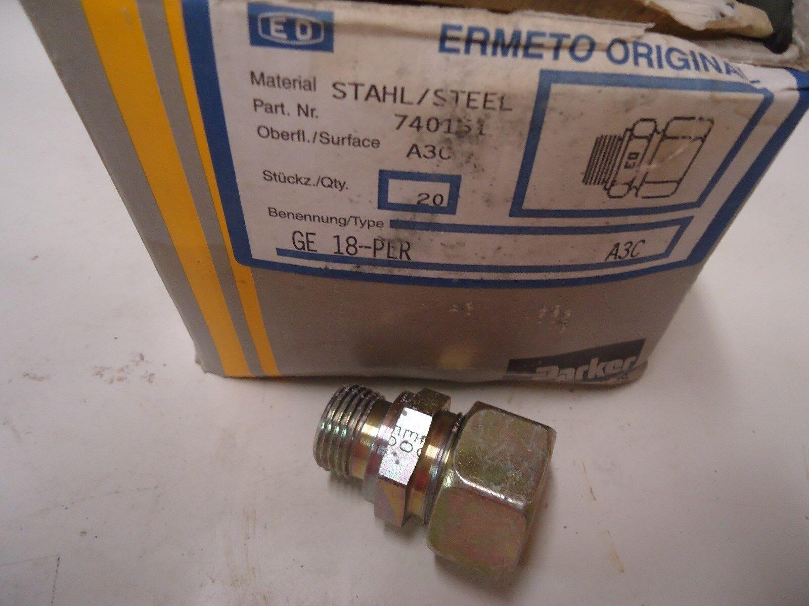 PARKER ERMETO STAHL STEEL 740151 A3C GE 18-PER (20 per box)
